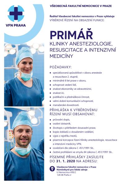 Odkaz na výběrové řízení primář Kliniky anesteziologie, resuscitace a intenzivní medicíny