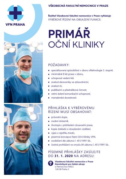 Odkaz na výběrové řízení primář Oční kliniky