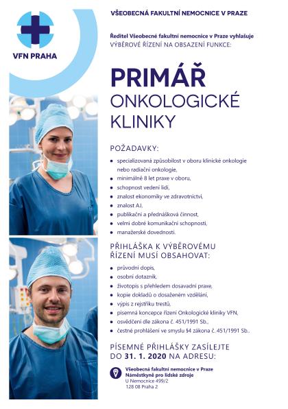 Odkaz na výběrové řízení primář Onkologické kliniky