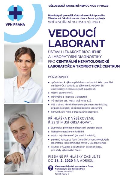 Odkaz na výběrové řízení vedoucí laborant Centrálních hematologických laboratoří a trombotického centra