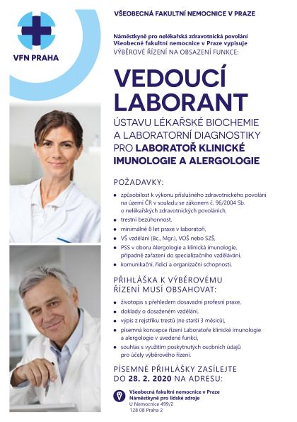 Odkaz na výběrové řízení vedoucí laborant Laboratoře klinické imunologie a alergologie