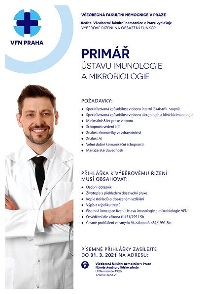 Odkaz na výběrové řízení na Primáře Ústavu imunologie a mikrobiologie